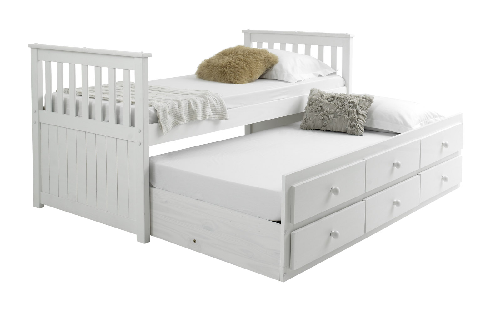 Mission Captain 3ft Single Contemporary Wood Guest Bed 3 Drawers With 2 X