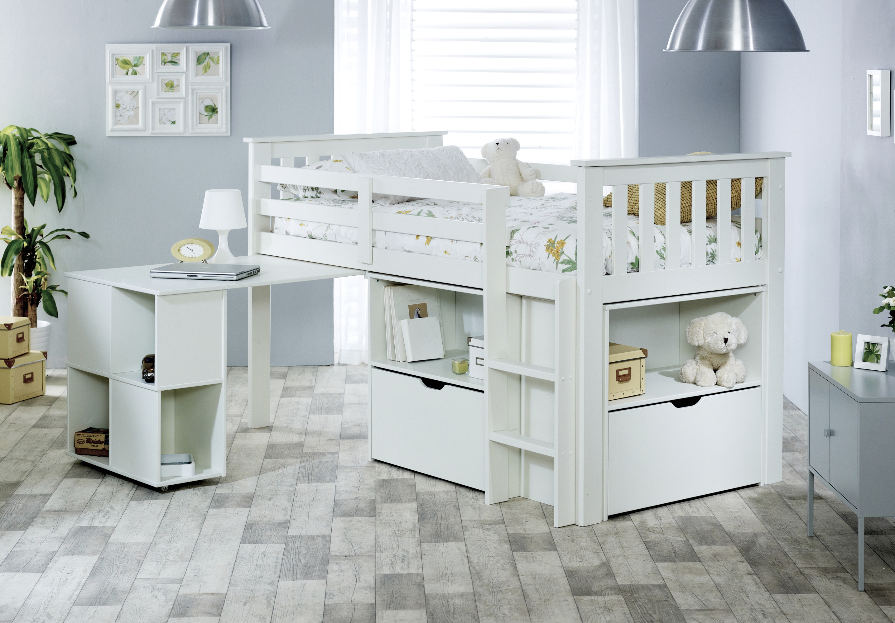 Picture of: Betternowm Co Uk Milo Kids Mid Sleeper Bed Frame With Spring Mattress Colour Available White Grey