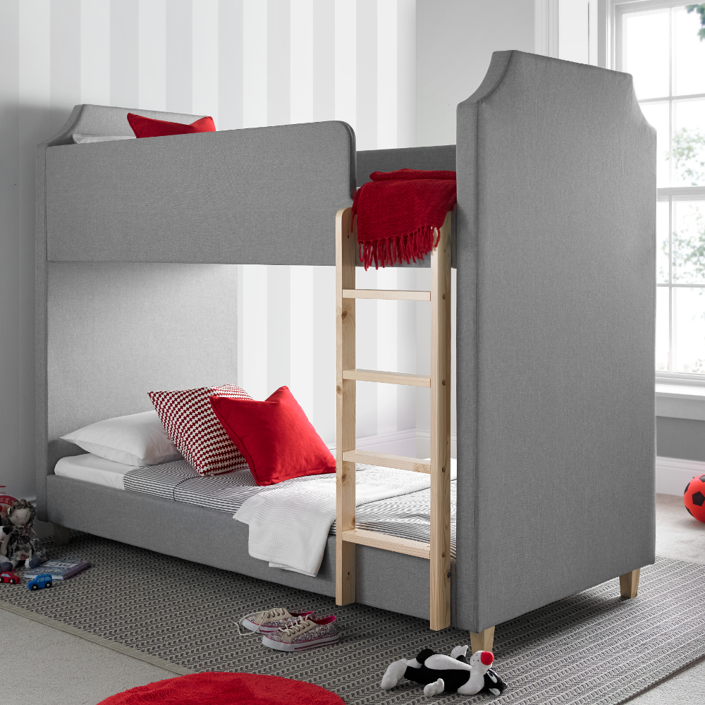 Betternowm Co Uk Legacy Grey Fabric Bunk Bed With 2 X Mattresses